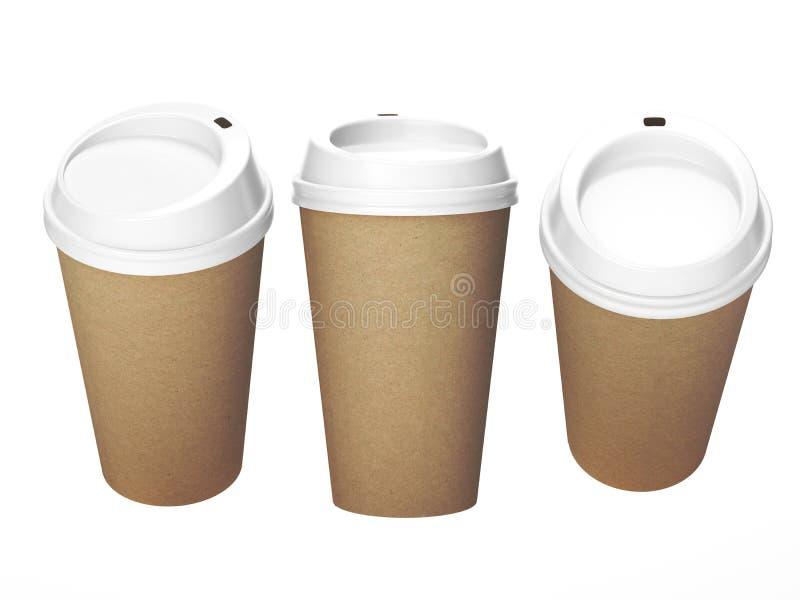 Kopp för kaffe för Kraft papper med det vita locket, inklusive snabb bana arkivfoto