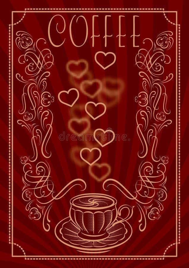 Kopp för kaffe med prydnaden och inskriften royaltyfri illustrationer
