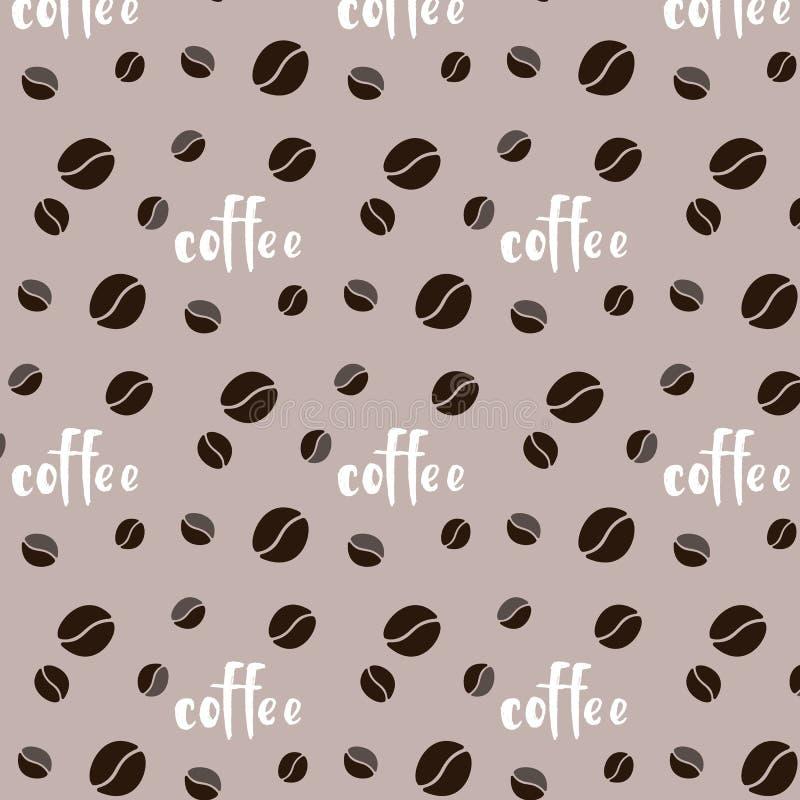 Kopp för meny för kafé för vitt kaffe för vektor för modellprydnadbrunt söt av stilsorten för korninskriftord på beige bakgrund royaltyfri illustrationer