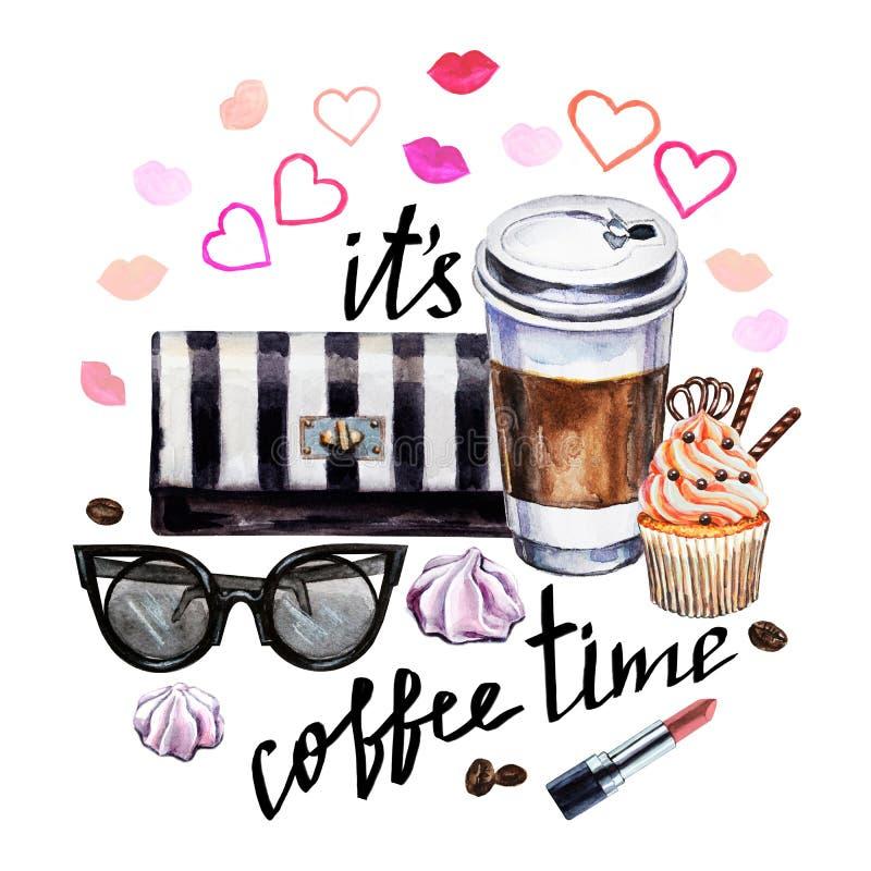 Kopp för vattenfärgillustrationkaffe, muffin, kvinnlig tillbehör stock illustrationer