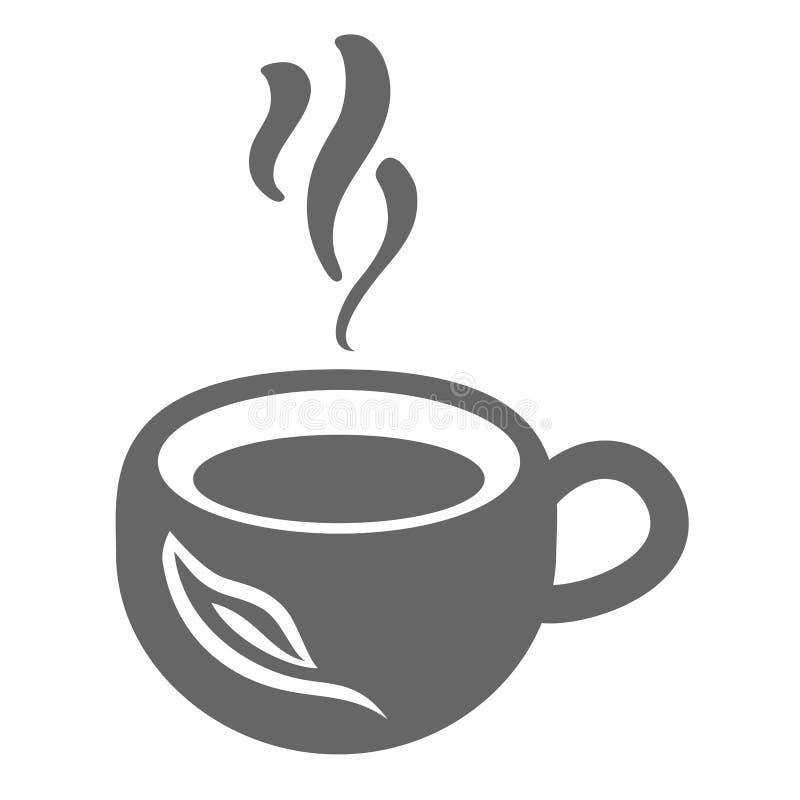 Kopp för vektorsymbolste med dunsten och tebladet vektor illustrationer