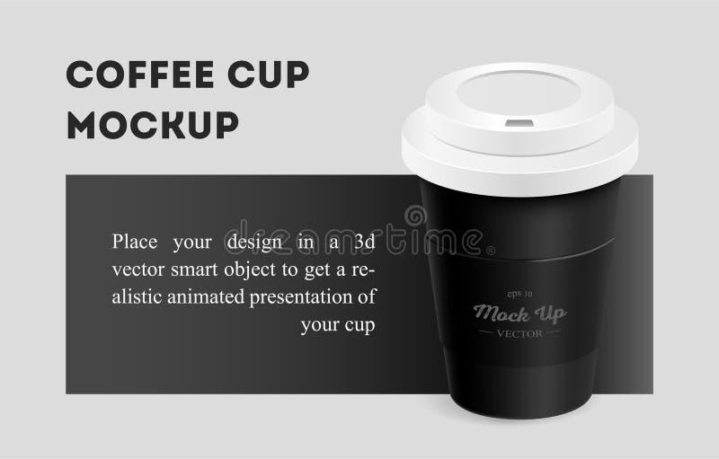 Kopp f?r svart kaffe med h?llaremodellen p? bakgrund royaltyfri illustrationer