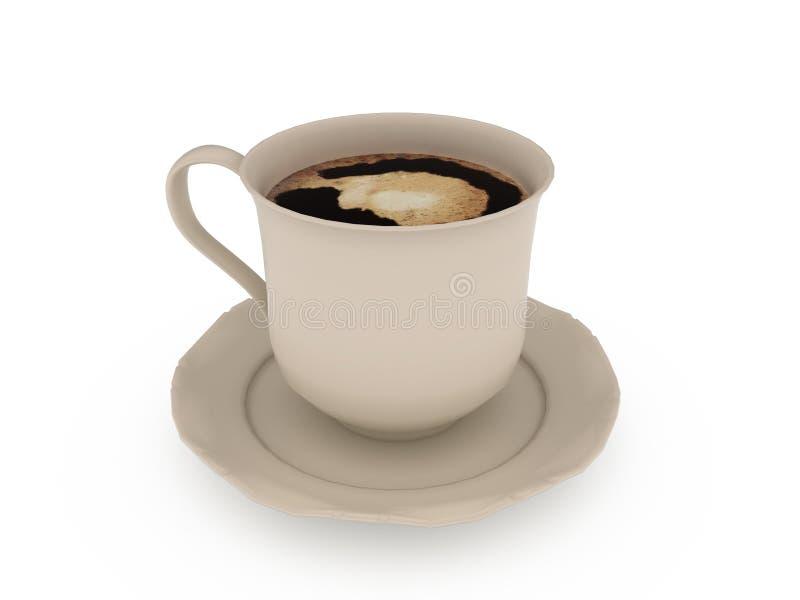 Kopp kaffe över vit bakgrund arkivbilder