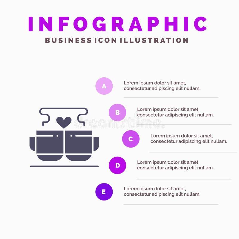 Kopp kaffe, förälskelse, hjärta, bakgrund för Valentine Solid Icon Infographics 5 momentpresentation stock illustrationer