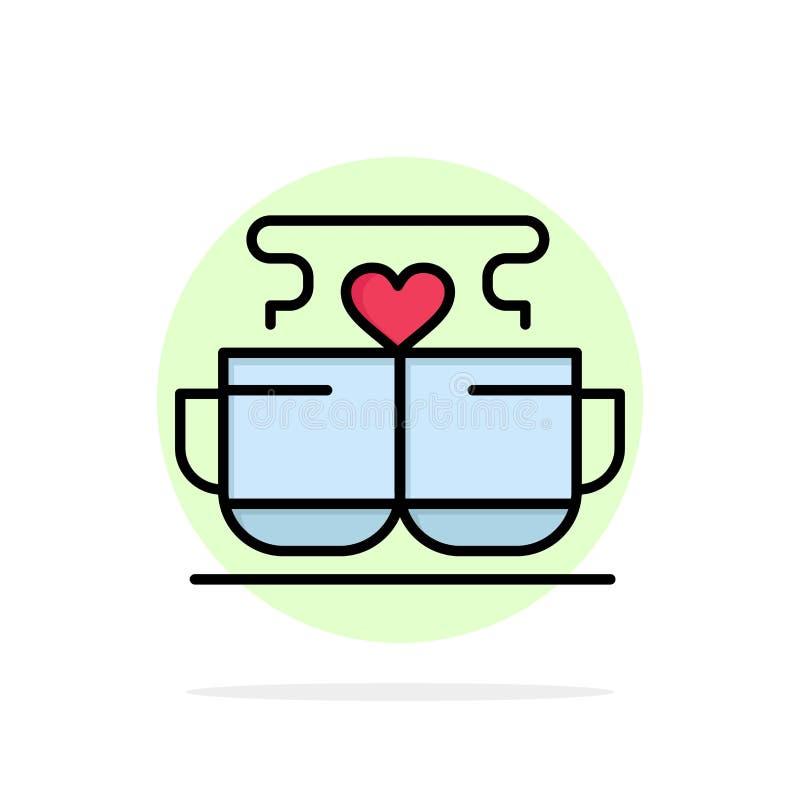 Kopp kaffe, förälskelse, hjärta, Valentine Abstract Circle Background Flat färgsymbol stock illustrationer