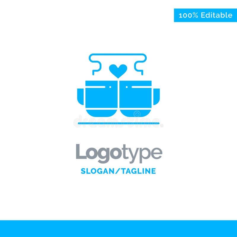 Kopp kaffe, förälskelse, hjärta, Valentine Blue Solid Logo Template St?lle f?r Tagline stock illustrationer
