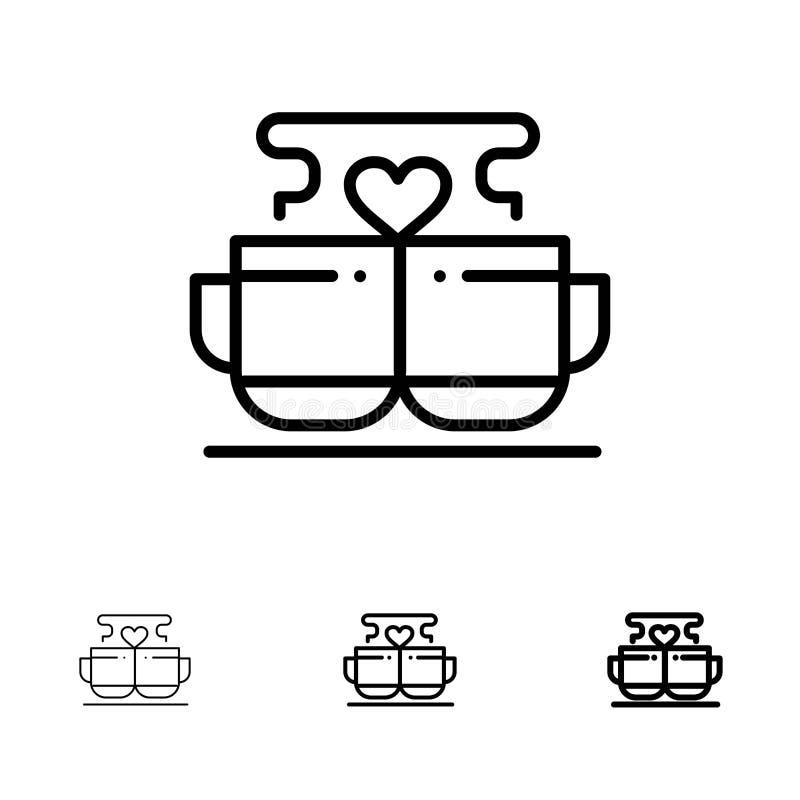 Kopp, kaffe, förälskelse, hjärta, Valentine Bold och tunn svart linje symbolsuppsättning royaltyfri illustrationer