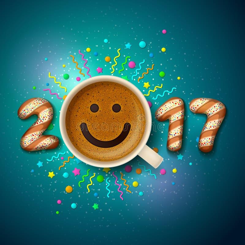 Kopp kaffe för bra lynne i det nya året 2017 och för jul royaltyfri illustrationer