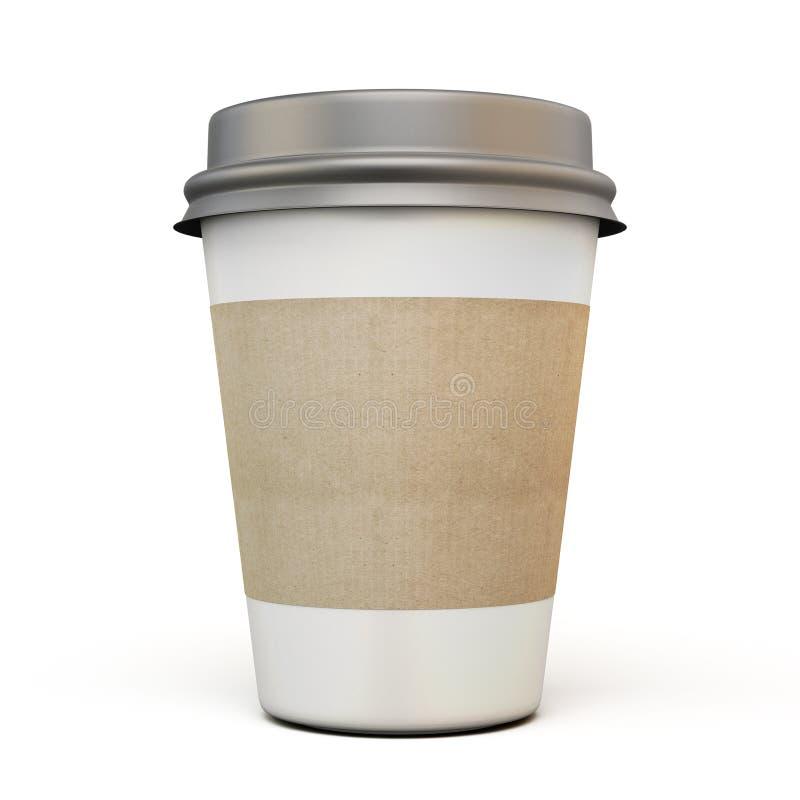 Kopp kaffe med ett mörkt lock stock illustrationer