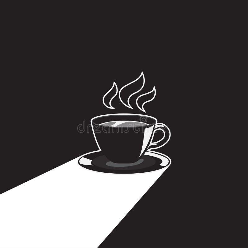 Kopp kaffe med l?ng skugga vektor illustration royaltyfri illustrationer