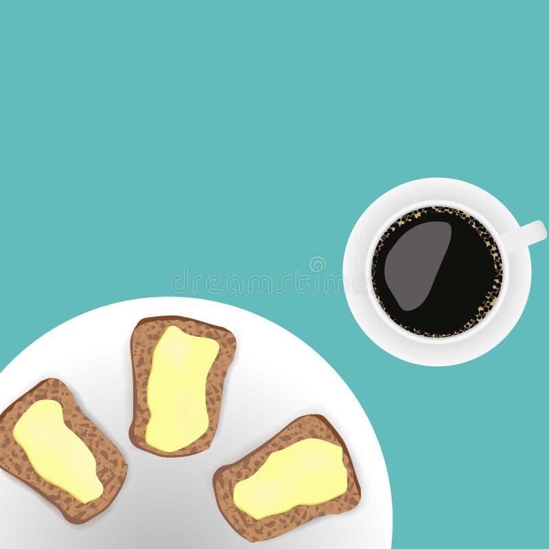kopp kaffe med smörgåsar stock illustrationer