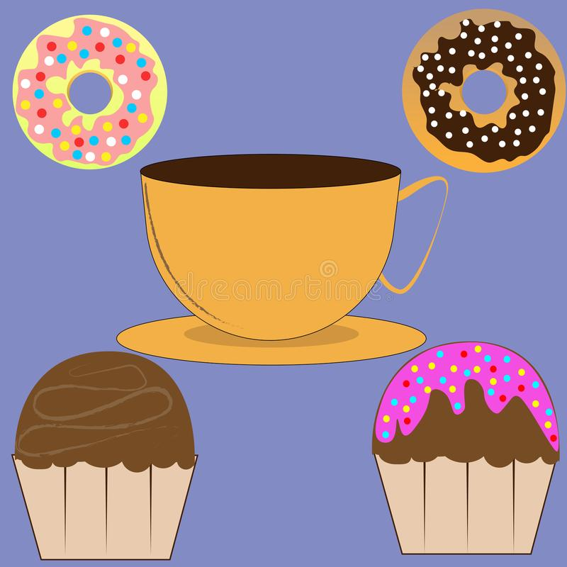 Kopp kaffe, muffin och donuts royaltyfri illustrationer