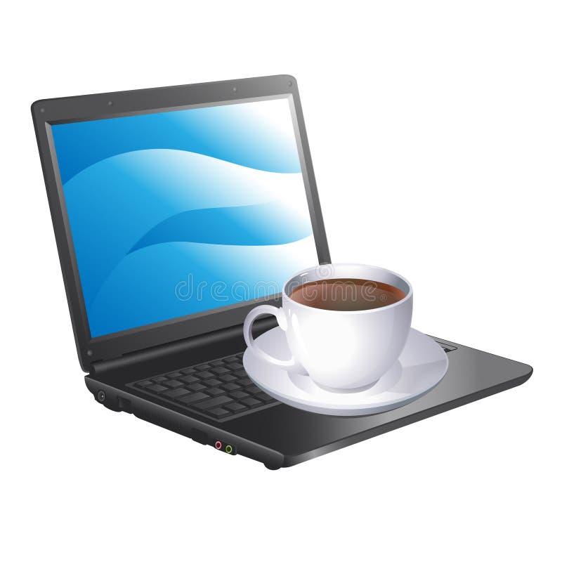 Kopp kaffe och en bärbar dator vektor illustrationer