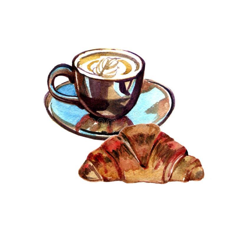 Kopp kaffe och giffel Vattenfärgmålningillustration på vit bakgrund royaltyfri illustrationer