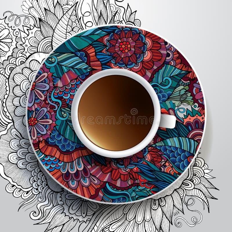 Kopp kaffe och hand dragen blom- prydnad vektor illustrationer