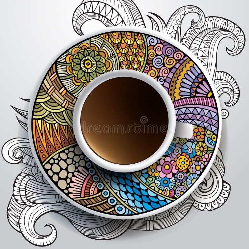 Kopp kaffe och hand dragen blom- prydnad