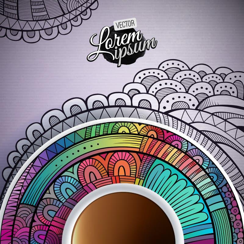 Kopp kaffe och hand dragen prydnad vektor illustrationer