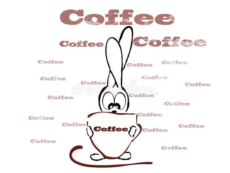Kopp kaffe och liten kanin, gyckel vektor illustrationer