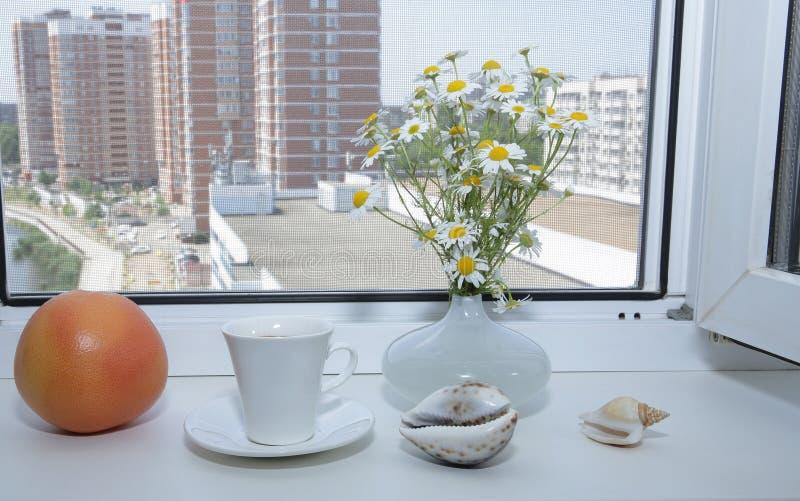 Kopp kaffe och orange blommor för för grapefrukt och vit tusensköna på en vit fönsterfönsterbräda med en öppen vit fönster- och g royaltyfri bild