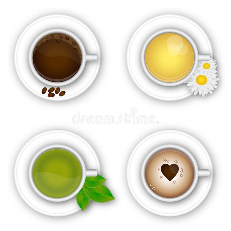 Kopp kaffe och te stock illustrationer