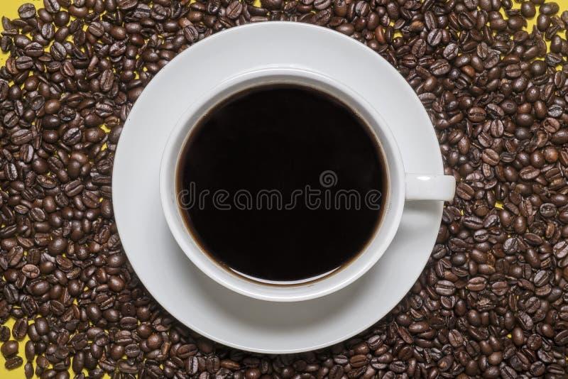 Kopp kaffe på en säng av kaffebönor arkivbild