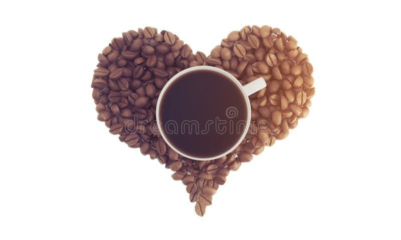 Kopp kaffe på kaffebönor som tonas vektor illustrationer