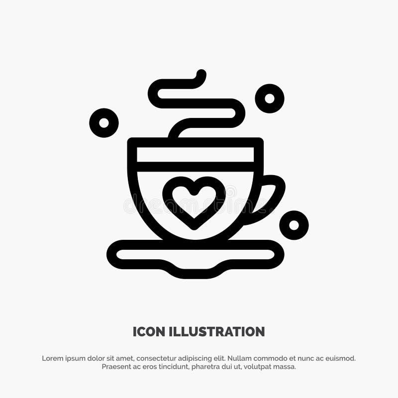 Kopp kaffe, te, förälskelselinje symbolsvektor royaltyfri illustrationer
