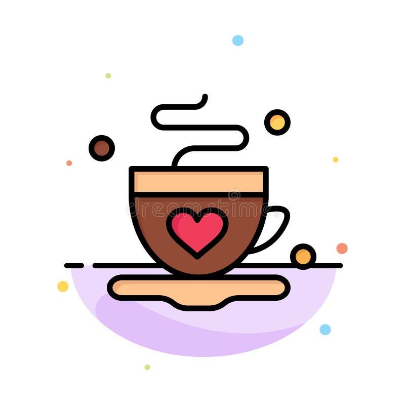 Kopp kaffe, te, mall för symbol för färg för förälskelseabstrakt begrepp plan royaltyfri illustrationer