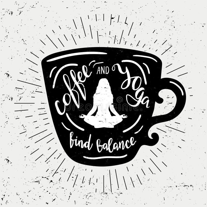Kopp kaffekonturn med bokstäverkaffe och yogafyndet balanserar Den gulliga och roliga illustrationen med tappningsolen rays stock illustrationer