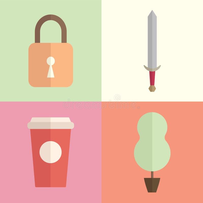 Kopp lås, pappers- kopp, plana illustrationer för träd/symboler med plana färger vektor illustrationer