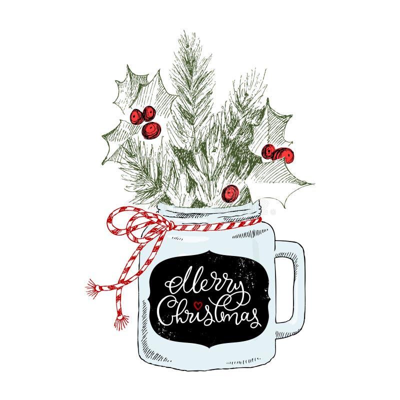 Kopp med julväxter Märka glad jul för uttryck kock tecknad handillustrationvektor Julfilial och klockor vektor illustrationer