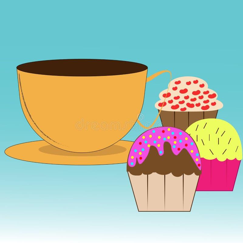 Kopp med kaffe och muffin stock illustrationer