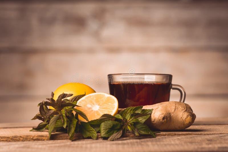 Kopp med te, mintkaramellen, citronen och ingefäran arkivfoto