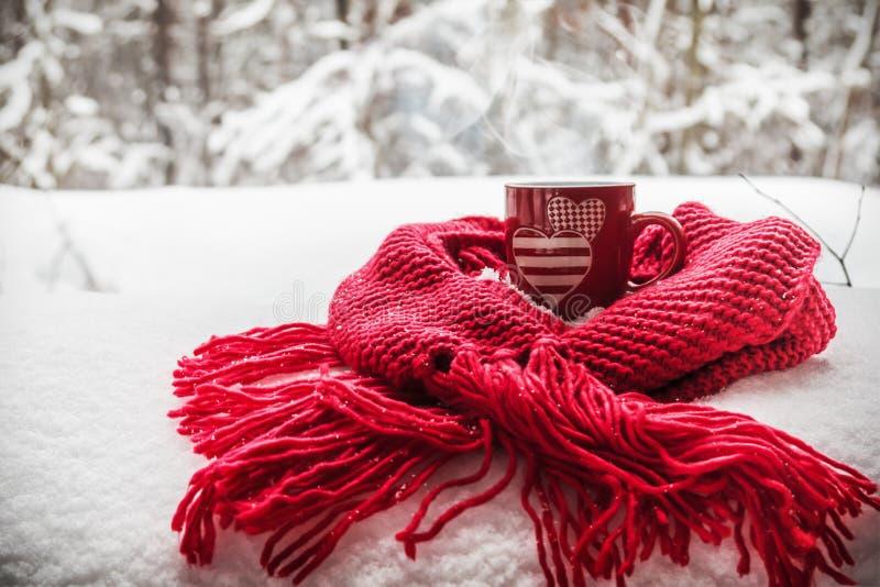 Kopp med två hjärtor och en varm drink som slås in i en halsduk i snön royaltyfri fotografi