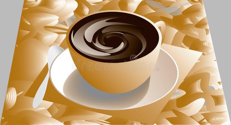 Kopp och sauser med kaffe stock illustrationer