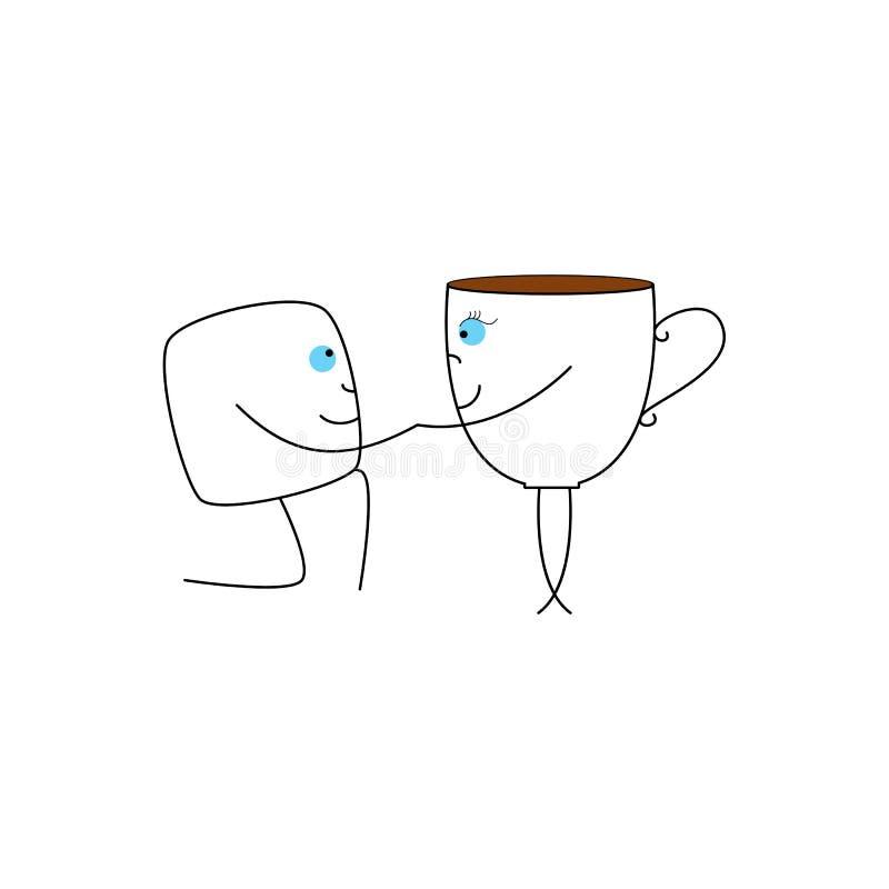 Kopp- och sockerkub royaltyfri illustrationer