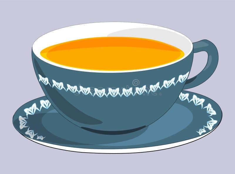 Kopp och tefat med te Isolerat p? gr? bakgrund Moderna illustrationer royaltyfri illustrationer