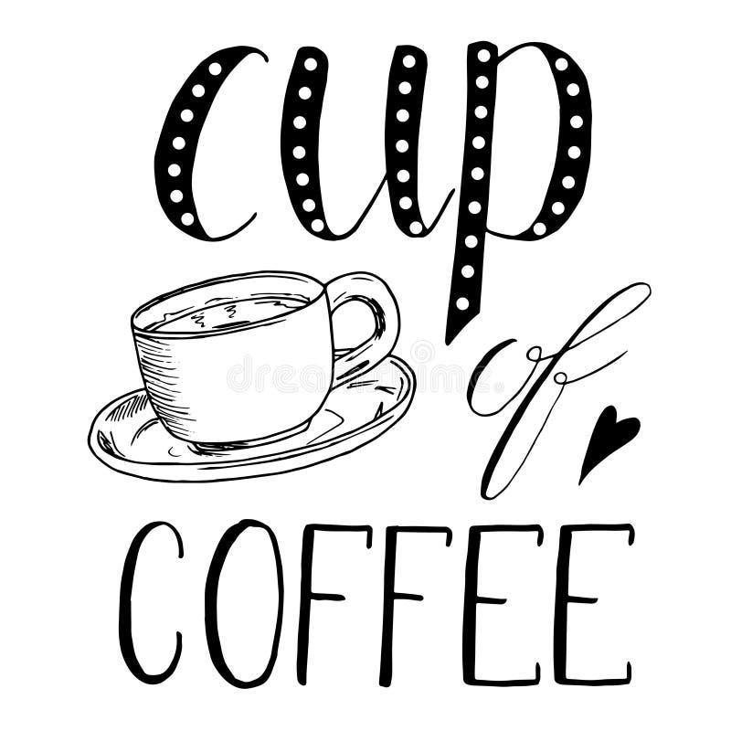 Kopp te kaffe Den drog handen skissar illustrationen på vit bakgrund, designbeståndsdelar grönsaker för bakgrundsdesignmeny bokst royaltyfri illustrationer