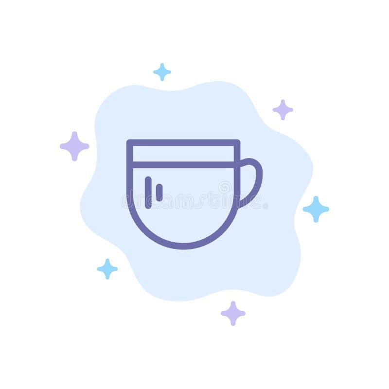 Kopp te, kaffe, grundläggande blå symbol på abstrakt molnbakgrund royaltyfri illustrationer