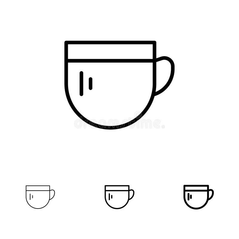 Kopp, te, kaffe, grundläggande djärv och tunn svart linje symbolsuppsättning royaltyfri illustrationer