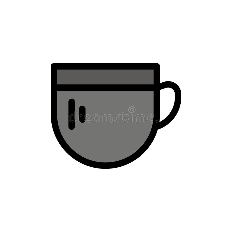 Kopp te, kaffe, grundläggande plan färgsymbol Mall för vektorsymbolsbaner royaltyfri illustrationer