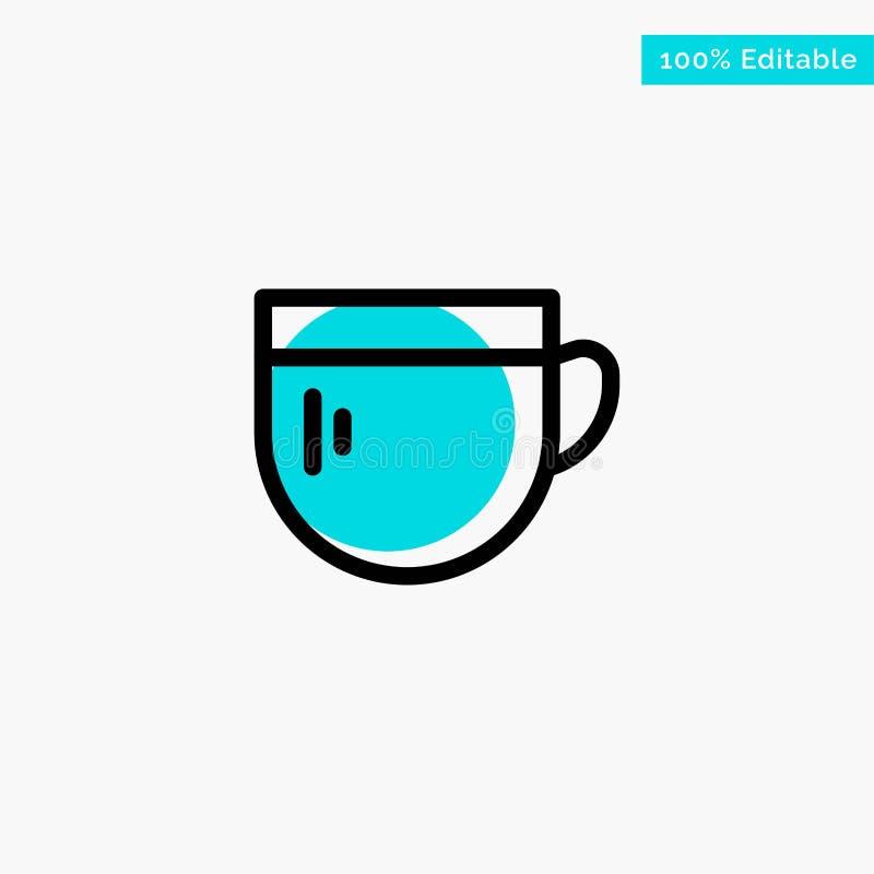 Kopp te, kaffe, grundläggande symbol för vektor för punkt för turkosviktigcirkel royaltyfri illustrationer