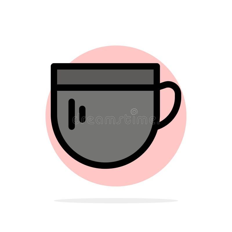 Kopp te, kaffe, symbol för färg för grundläggande abstrakt cirkelbakgrund plan royaltyfri illustrationer