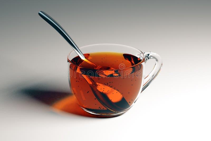 Kopp te med skeden stock illustrationer