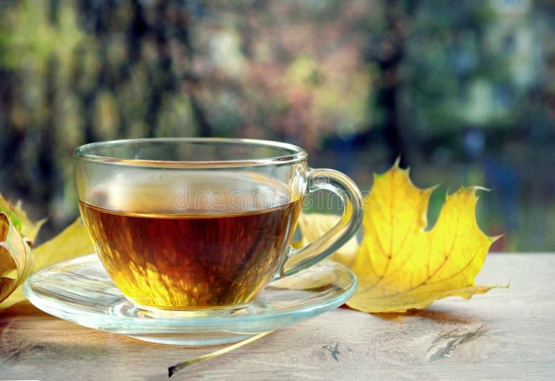 Kopp te och gula sidor på en trätabell Kopp med varmt te på trätabellen över höstbakgrund höstbakgrundscloseupen colors orange re arkivbild