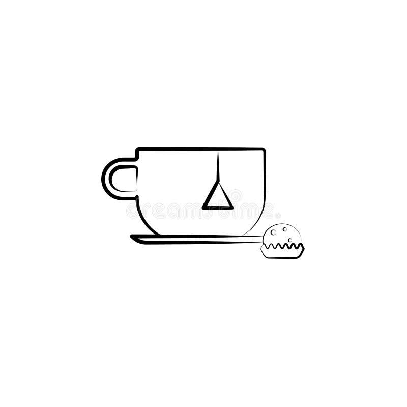 Kopp tepåsesymbol Beståndsdel av tesymbolen för mobila begrepps- och rengöringsdukapps Kan den utdragna koppen för handen, tepåse vektor illustrationer