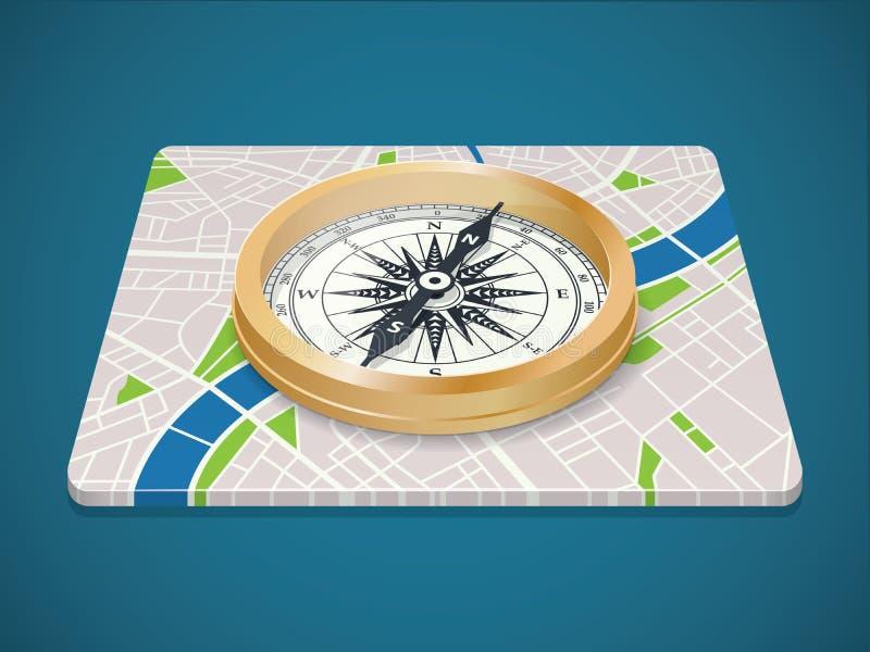 KopparÐ-¡ ompass på översikt av staden Isometrisk symbol för plant lopp royaltyfri illustrationer