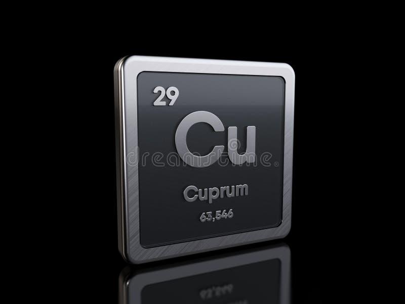 Koppar-Cu, elementsymbol från periodiska tabellserier royaltyfri illustrationer