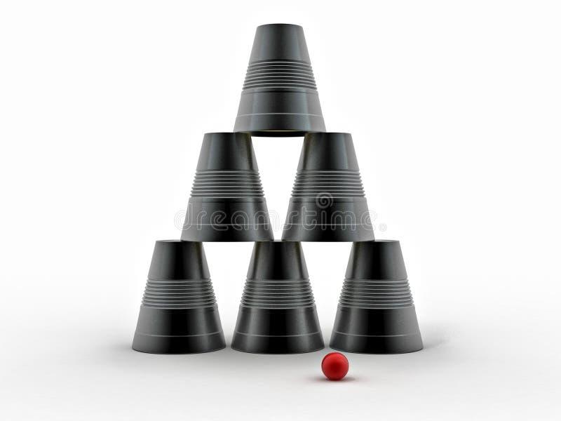 koppar inverterad plastic pyramid stock illustrationer