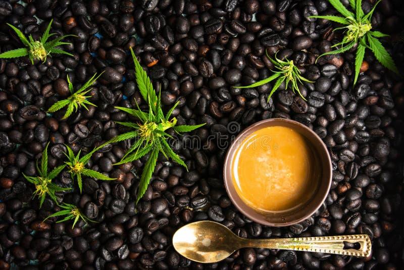 Koppar kaffe med marijuana och grillade bönor arkivbild